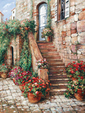 Stone Stairway, Perugia Prints by Roger Duvall