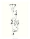 Trumpet Sketch Giclee-tryk i høj kvalitet af Ethan Harper