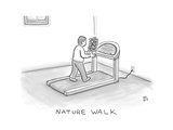 Nature Walk -- A man walks on a treadmill, while holding a potted plant in... - New Yorker Cartoon Giclee Print by Paul Noth