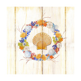 Coastal Wreath and Shell 4 Posters by Mary Escobedo