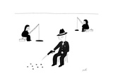 A gangster ice fishing by shooting through the ice. - New Yorker Cartoon Premium Giclee Print by Seth Fleishman