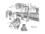 "A sign for a ""SLOW TEXTERS' LANE"" on the sidewalk. - New Yorker Cartoon Premium Giclee Print by John Klossner"