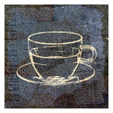 Coffee On Print Blue 2 Prints by Kimberly Allen