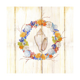 Coastal Wreath and Shell 1 Prints by Mary Escobedo