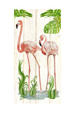Flamingo Stroll 2 Posters by Mary Escobedo