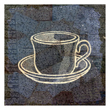 Coffee On Print Blue 1 Art by Kimberly Allen
