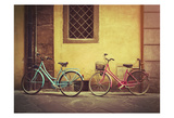 Blue and Pink Bikes Poster by James Rowland