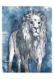 Grey Blue Lion Prints by OnRei OnRei