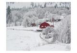 Farm In The Snow Print by Vladimir Kostka