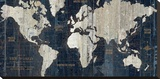 Old World Map Blue Stretched Canvas Print by Hugo Wild