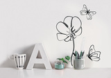 Flower / Fleur & papillons Wall Decal