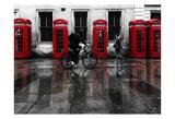 London Phone Booths People Posters by Vladimir Kostka
