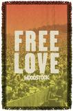 Woodstock - Free Love Woven Throw Throw Blanket