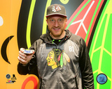 Marian Hossa with the puck from his 500th NHL Goal- October 18, 2016 Photo