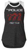 Juniors: The Police- 1982 Tour Sleeveless Raglan T-Shirts