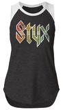 Juniors: Styx- Rainbow Logo Sleeveless Raglan T-shirts