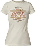 Juniors: AC/DC- Distressed High Voltage Logo T-shirts
