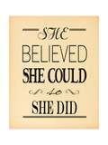 She Believed Beige Print by Jo Moulton