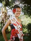 Miss Hiva Oa, Models Traditional Clothing in the Marquesas Islands Fotografisk tryk af Dmitri Alexander