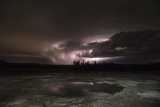 Clouds Lit by Lightning at Middle Geyser Basin in Yellowstone National Park Photographic Print by Charles Smith