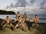 Young Men Perform a Traditional Haka or Warrior Dance in the Marquesas Islands Fotografisk tryk af Dmitri Alexander