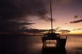 Pink Sunset over the Pacific Ocean with an Anchored Catamaran on Molokai, Hawaii Photographic Print by Jonathan Kingston