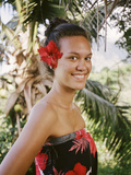 A Young Woman Models Traditional Dress in the Marquesas Islands Photographic Print by Dmitri Alexander