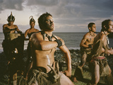 Young Men Perform a Traditional Haka or Warrior Dance in the Marquesas Islands Photographic Print by Dmitri Alexander