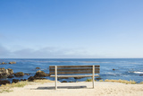 Empty Bench by Sea in Monterey Bay, California Photographic Print by John Burcham
