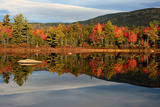 Scenic View of Trees and Hills Reflected in the Still Water of a Pond in Autumn Photographic Print by Darlyne Murawski