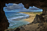 A Cave Overlooking Mo'Omomi Beach on Molokai's North Shore Photographic Print by Richard A. Cooke