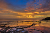 Sunset Above Low Tide Pools at Kawakiu Nui Beach on Molokai's West End Photographic Print by Richard A. Cooke