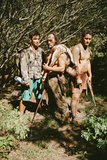 A Man and His Sons Return from a Successful Hunt in the Marquesas Islands Fotografisk tryk af Dmitri Alexander