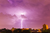 A Powerful Lightning Storm with Frequent Lightning Bolts Striking Downtown Asuncion Photographic Print by Mike Theiss