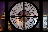 Giant Clock Window - View of Downtown Shanghai by Night - China II Photographic Print by Philippe Hugonnard