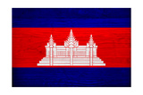 Cambodia Flag Design with Wood Patterning - Flags of the World Series Prints by Philippe Hugonnard