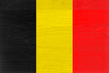 Belgium Flag Design with Wood Patterning - Flags of the World Series Print by Philippe Hugonnard