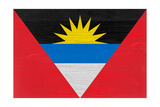 Antigua And Barbuda Flag Design with Wood Patterning - Flags of the World Series Prints by Philippe Hugonnard
