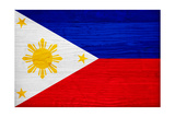 Philippines Flag Design with Wood Patterning - Flags of the World Series Print by Philippe Hugonnard