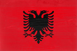Albania Flag Design with Wood Patterning - Flags of the World Series Prints by Philippe Hugonnard