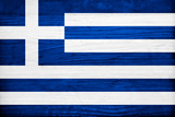 Greece Flag Design with Wood Patterning - Flags of the World Series Prints by Philippe Hugonnard