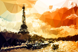 Low Poly Paris Art - Paris Sunset Posters by Philippe Hugonnard