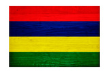 Mauritius Flag Design with Wood Patterning - Flags of the World Series Prints by Philippe Hugonnard