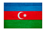 Azerbaijan Flag Design with Wood Patterning - Flags of the World Series Art by Philippe Hugonnard