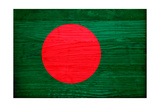 Bangladesh Flag Design with Wood Patterning - Flags of the World Series Prints by Philippe Hugonnard
