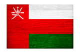 Oman Flag Design with Wood Patterning - Flags of the World Series Prints by Philippe Hugonnard