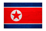 North Korea Flag Design with Wood Patterning - Flags of the World Series Prints by Philippe Hugonnard