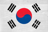 South Korea Flag Design with Wood Patterning - Flags of the World Series Prints by Philippe Hugonnard