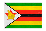Zimbabwe Flag Design with Wood Patterning - Flags of the World Series Prints by Philippe Hugonnard