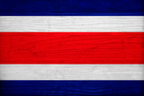 Costa Rica Flag Design with Wood Patterning - Flags of the World Series Print by Philippe Hugonnard